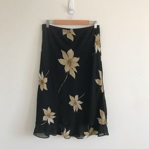 Vintage 90s | Black Floral Slip On Skirt 12